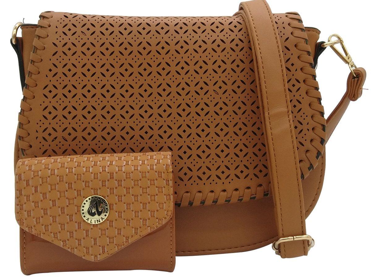 cb76060aa kit bolsa feminina tiracolo + carteira couro de qualidade. Carregando zoom.