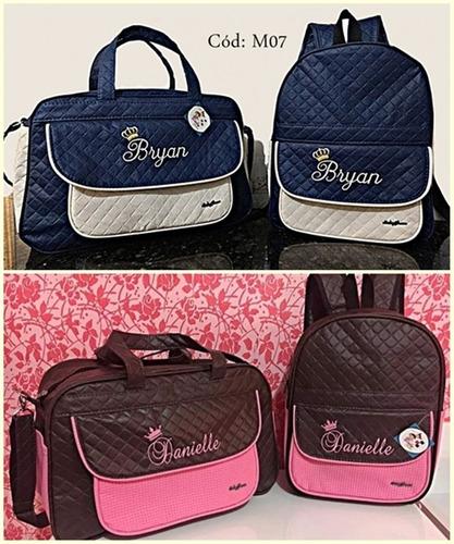kit bolsa grande e mochila m personalizadas maternidade bebê