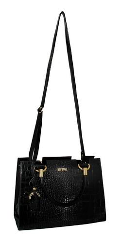 kit bolsa lateral e de mão feminina croco + carteira cs2