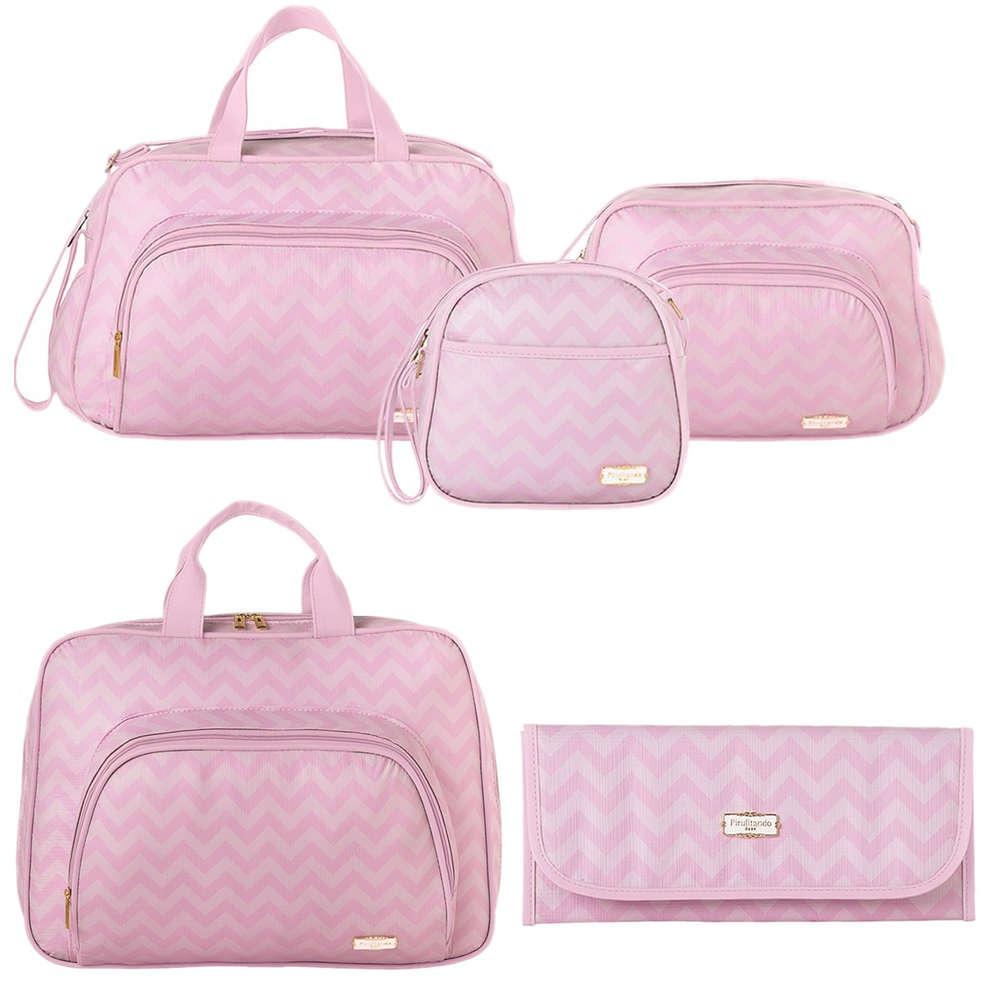 3f8c7b70c5 kit bolsa maternidade 5 peças chevron rosa pirulitando. Carregando zoom.