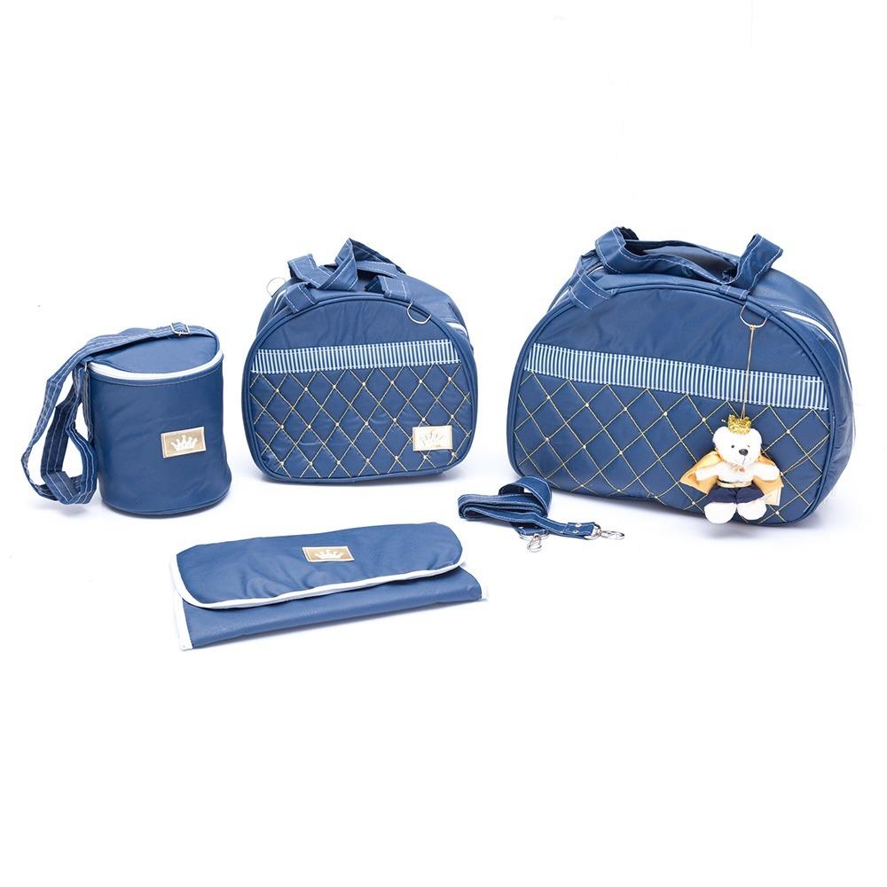 ae9916da0 Kit Bolsa Maternidade Azul Marinho Menino Luxo 4 Peças +urso - R$ 169,99 em  Mercado Livre