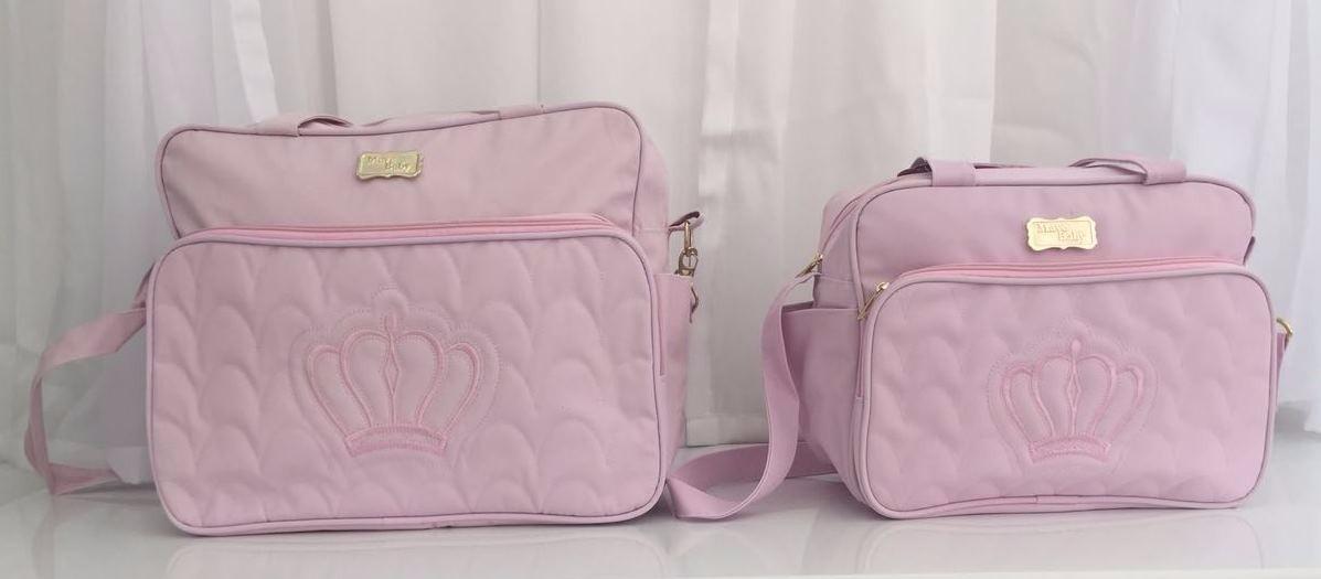 Bolsa De Festa Roxa : Kit bolsa maternidade beb? coroa rosa frasqueira mb