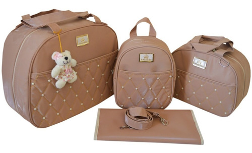 kit bolsa maternidade bebe menina rosa luxo 04 peças