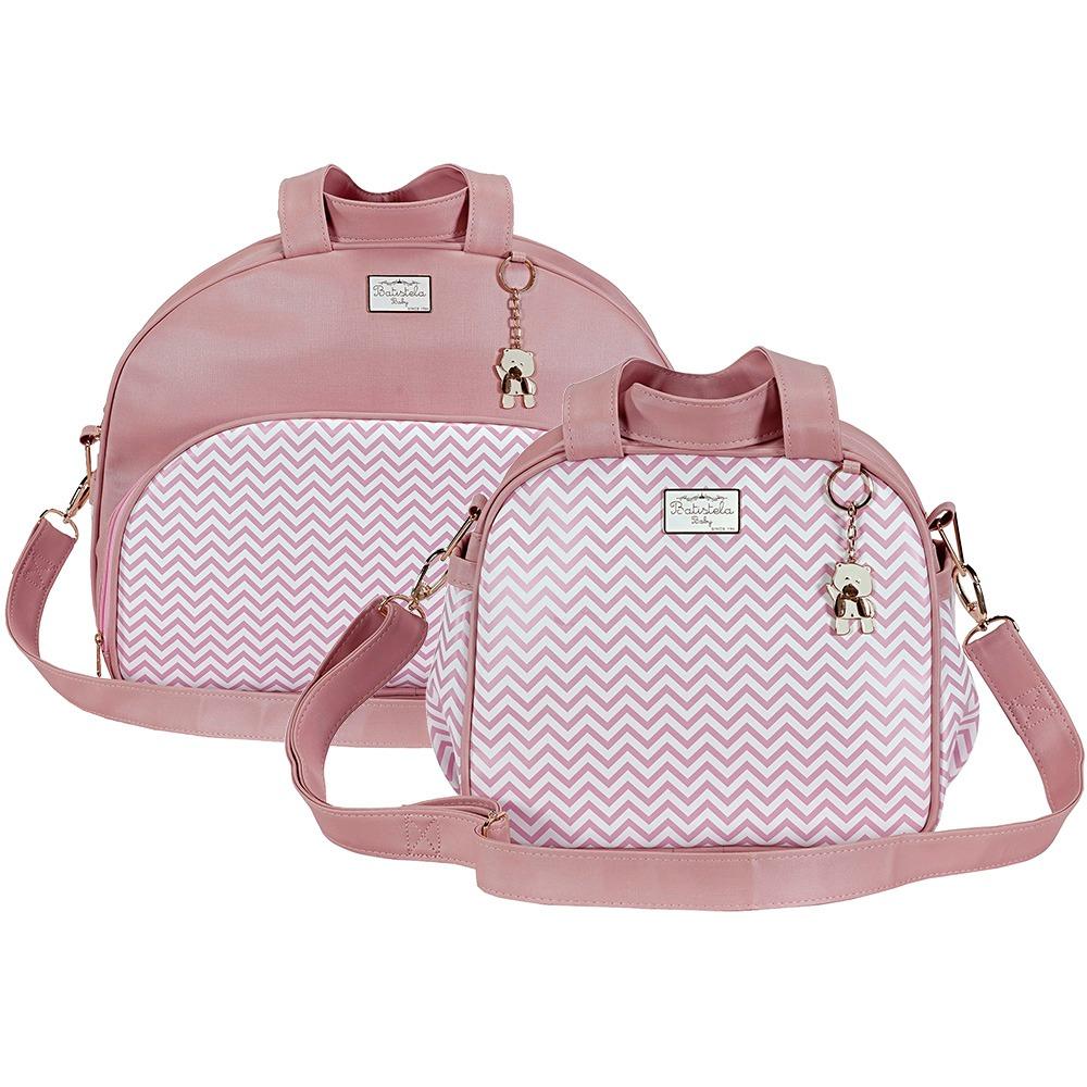 3f07d7810b kit bolsa maternidade chevron rosa 2 peças m e p. Carregando zoom.