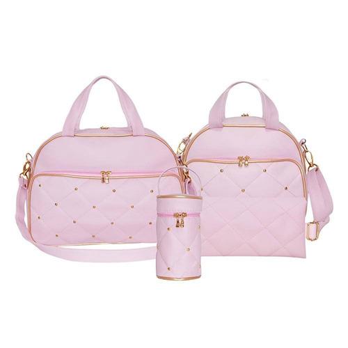 kit bolsa maternidade elegance rosa com dourado - 4 peças