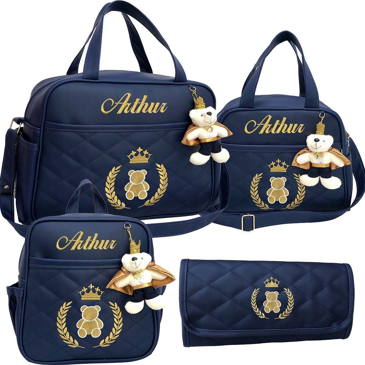 5ce585932 kit bolsa maternidade + mochila luxo, personalizadas 4 peças. Carregando  zoom.