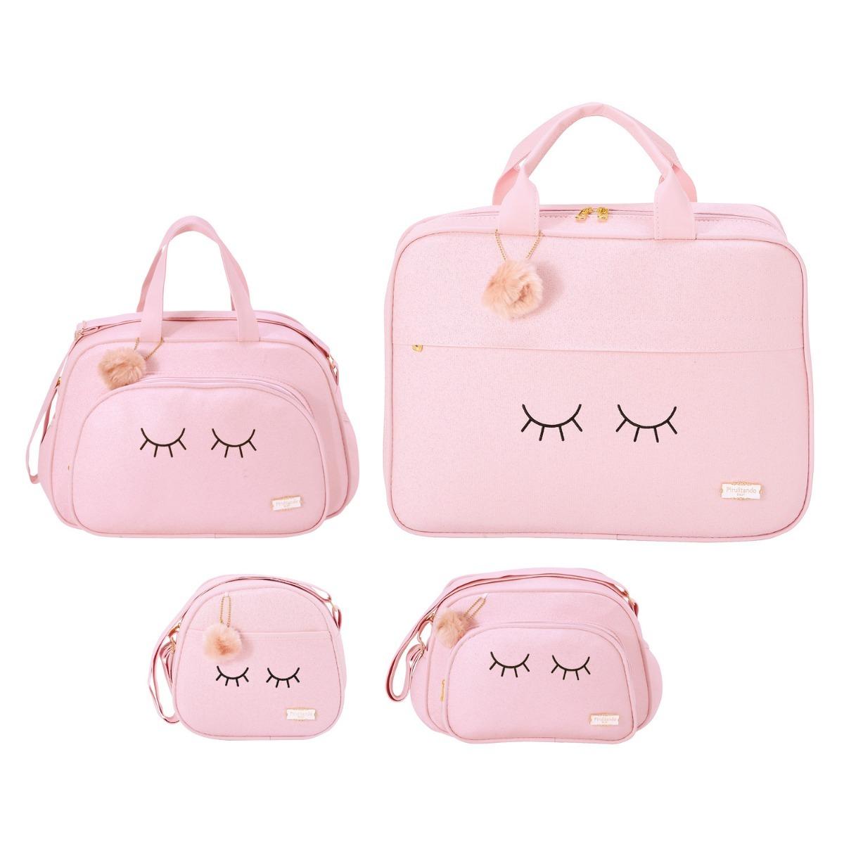 ee4ddbfd90 kit bolsa maternidade pirulitando chuva de amor rosa s  troc. Carregando  zoom.