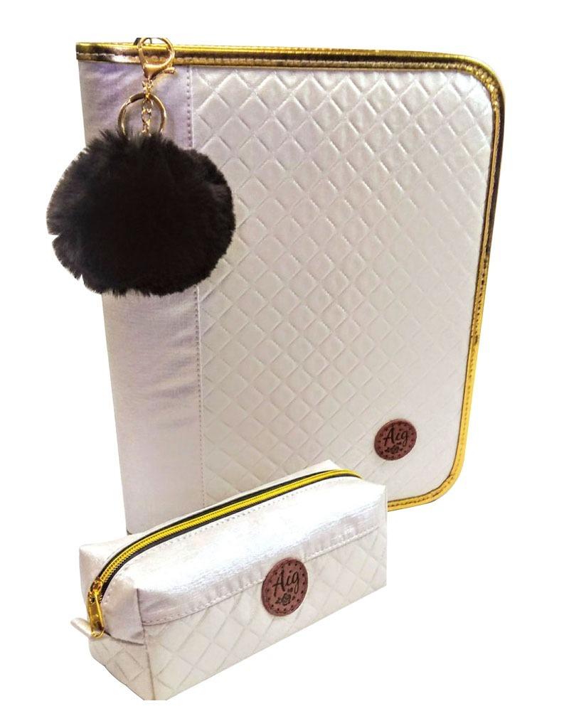 fd48275ac kit bolsa mochila branca + fichário a4+ estojo matelasse aig. Carregando  zoom.