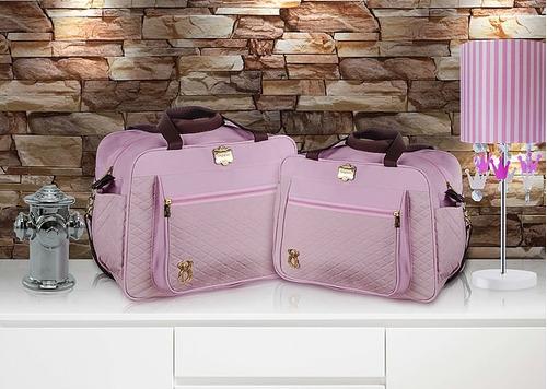 kit bolsas bebê maternidade rosa e marrom div griff 2 pçs