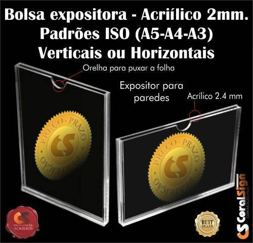 kit bolsas display em acrilico virgem - tamanho a5 (6 peças)