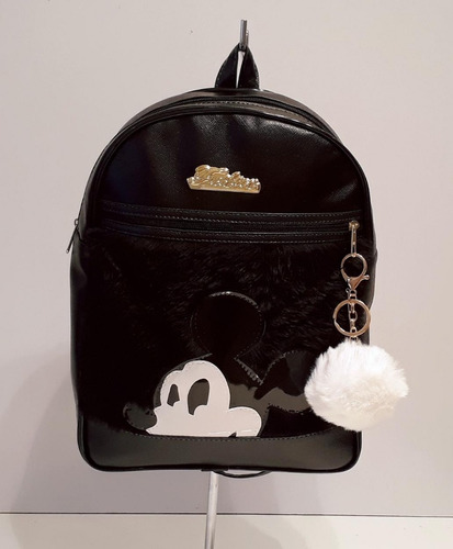 kit bolsas e mochila mickey com 01 chaveiro pompom - 3 peças