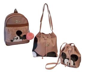 8e0f27ae1 Kit Com 3 Bolsas Femininas - Bolsa de Couro Sintético Femininas Marrom no  Mercado Livre Brasil