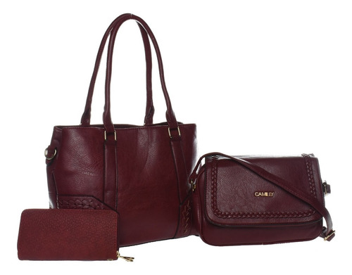 kit bolsas feminina transversal/ombro carteira em couro pu