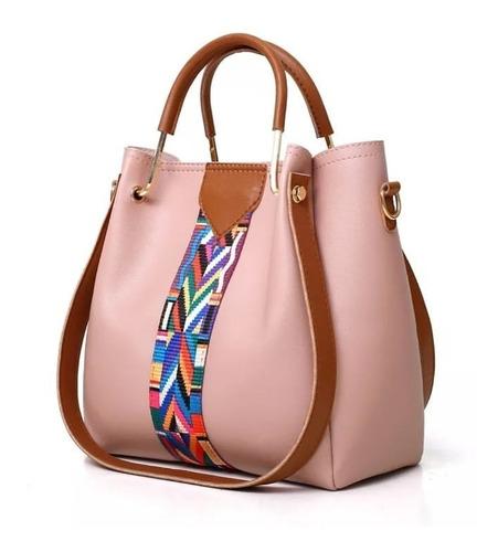 kit bolsas femininas 4pç bolsa feminina grande rosa promoção