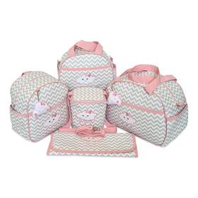Kit Bolsas Maternidade De Bebê 5 Pcs Nuvem Chuva De Amor