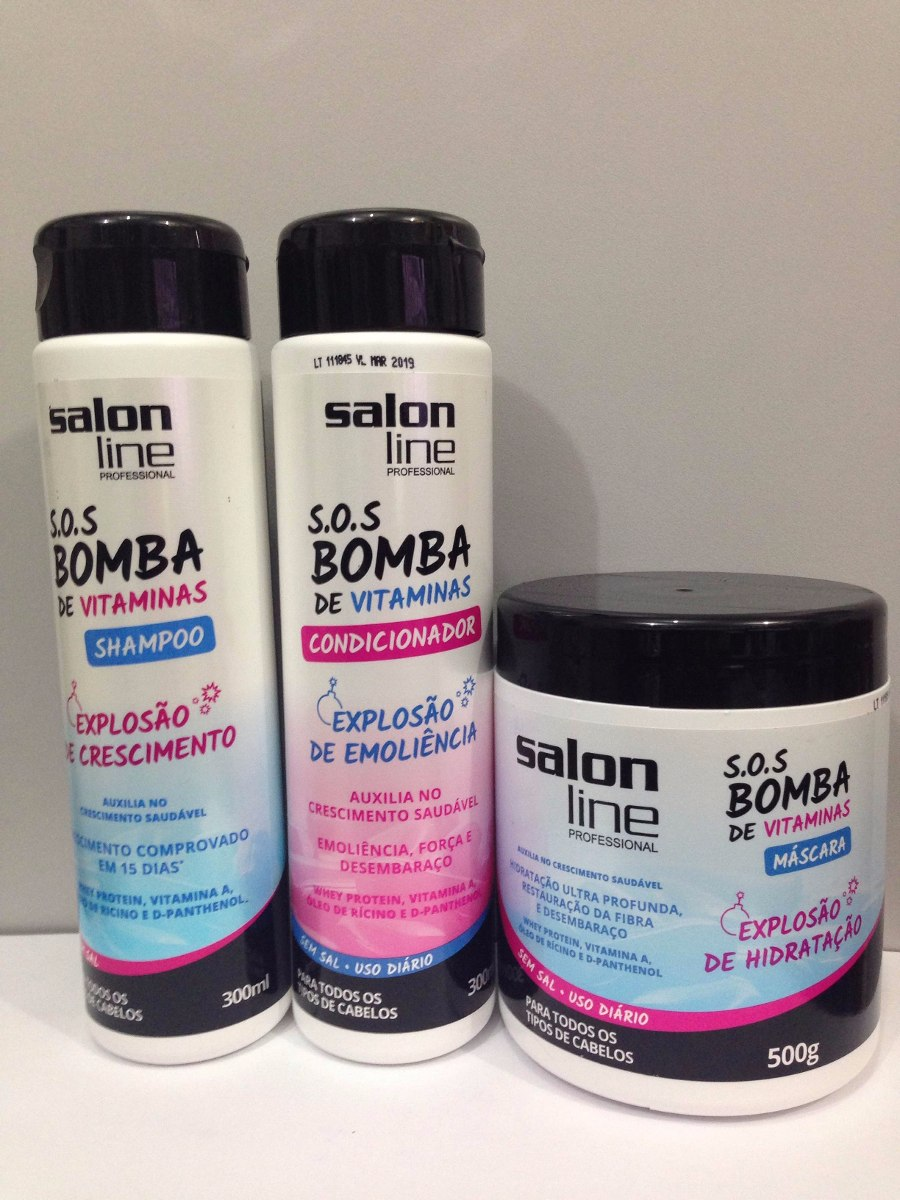 Kit bomba shampoo cond m scara salon line r 41 for Salon line bomba