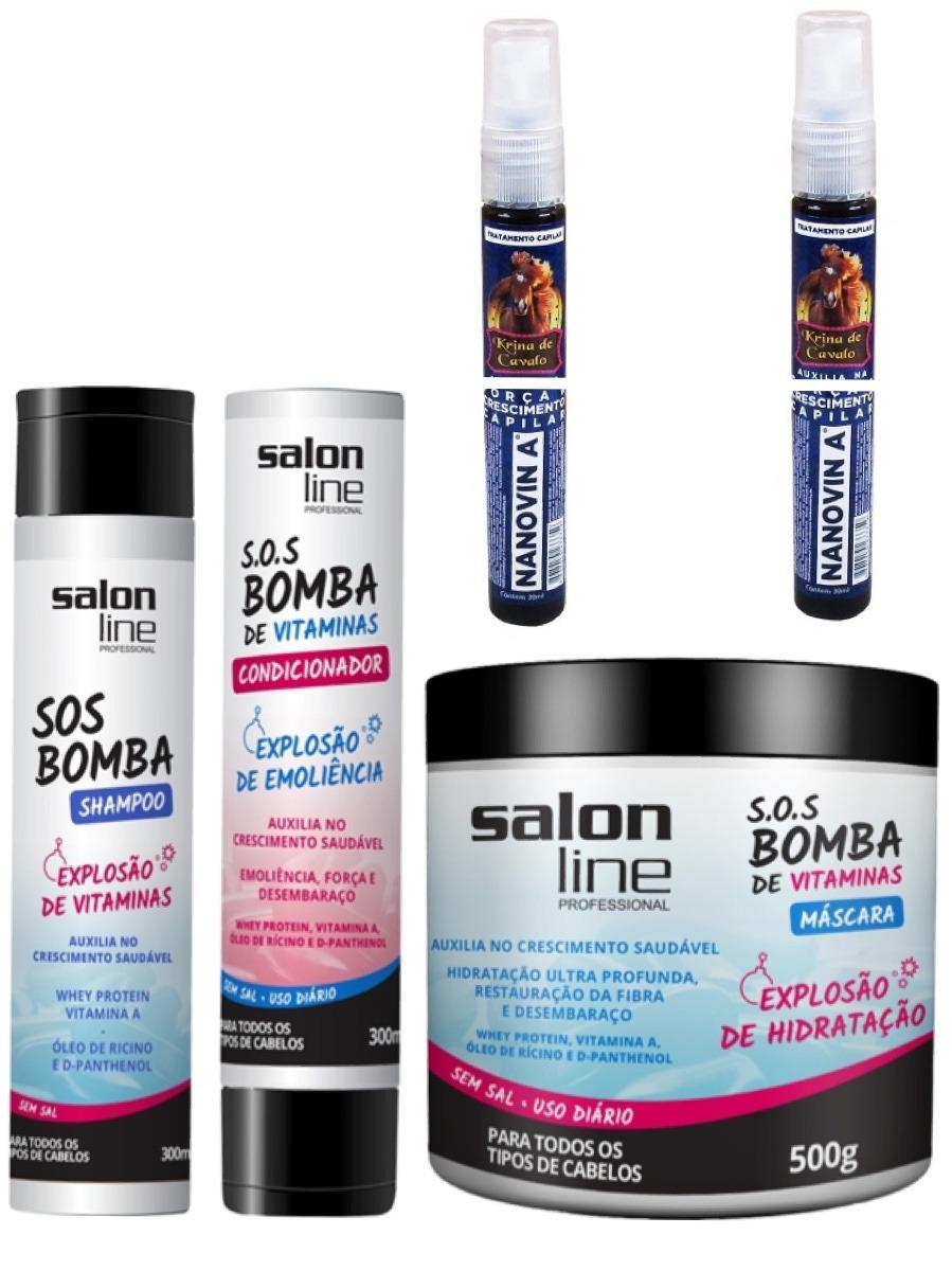 Kit bomba sos salon line crescimento capilar 2 nanovin a for Salon line bomba