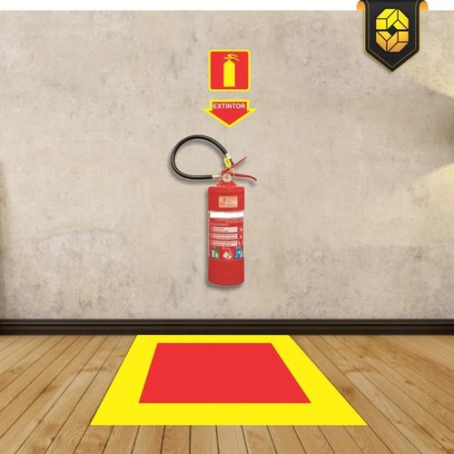 kit bombeiro combate à incêndio - adesivo + placas extintor