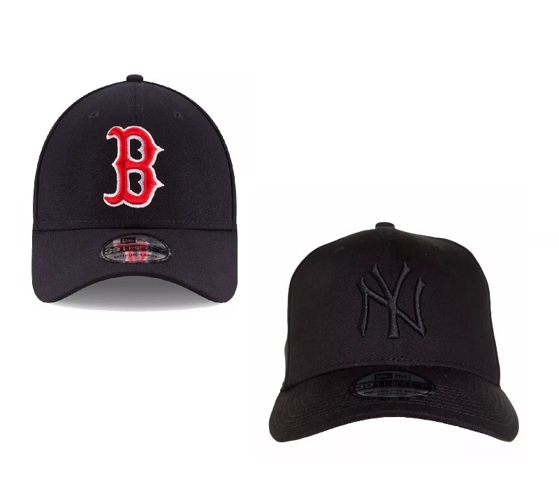 kit bone aba curva new era   1 boston marinho + 1 yankees. Carregando zoom. 3a4b7f5f122