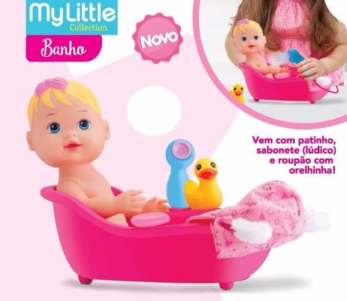 kit boneca my little banho + sãlo de beleza divertoys