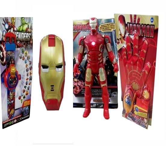 410e7110ca1 Kit Boneco Homem De Ferro 30cm Articulado Relógio E Máscara - R ...