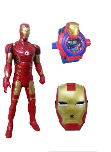 kit boneco homem de ferro vingadores + máscara e relógio