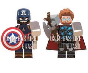 Blocos De Montar Thor Capitão América Martelo Escudo Kit K25