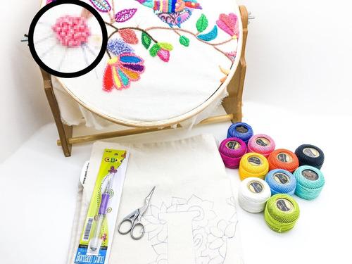 kit bordado chino, aguja + perle + tijera + bastidor + bolso