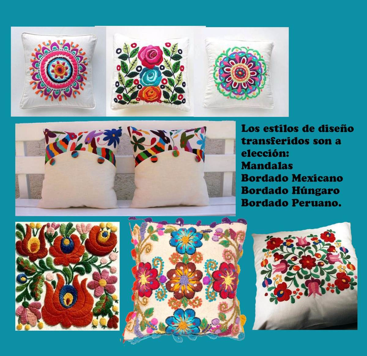 Kit Bordado Mexicano . Pie De Cama Una Plaza + Almohadon ...