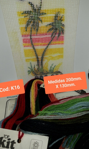 kit bordar completo (lã + tela pintada + agulha + manual)k16