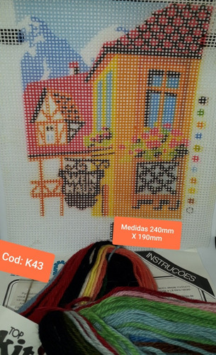 kit bordar completo (lã + tela pintada + agulha + manual)k43