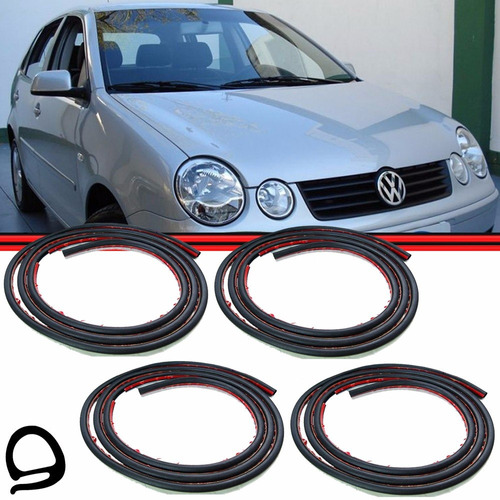 kit borracha porta polo hatch sedan 02 14 fixa colar 4p #420