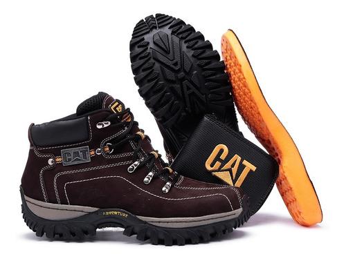 kit bota adventure caterpillar + chinelo carteira cinto palm