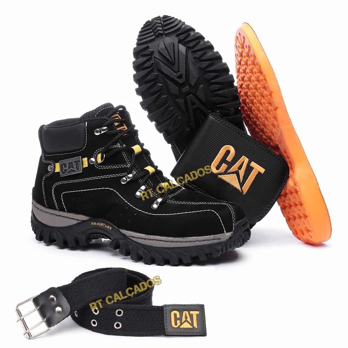 2a7072b5dd Kit Bota Adventure Caterpillar Palmilh Gel Promoção Limitada - R  99 ...