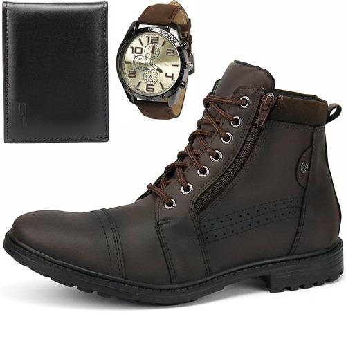 kit bota coturno casual masculina + carteira e relógio
