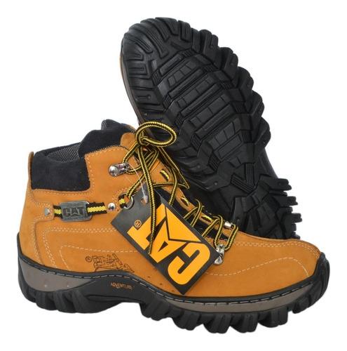 kit bota masculina caterpillar em couro legitimo promoção