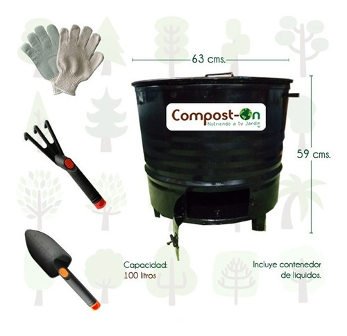 kit bote compostero compost-on + 100 lombrices rojas