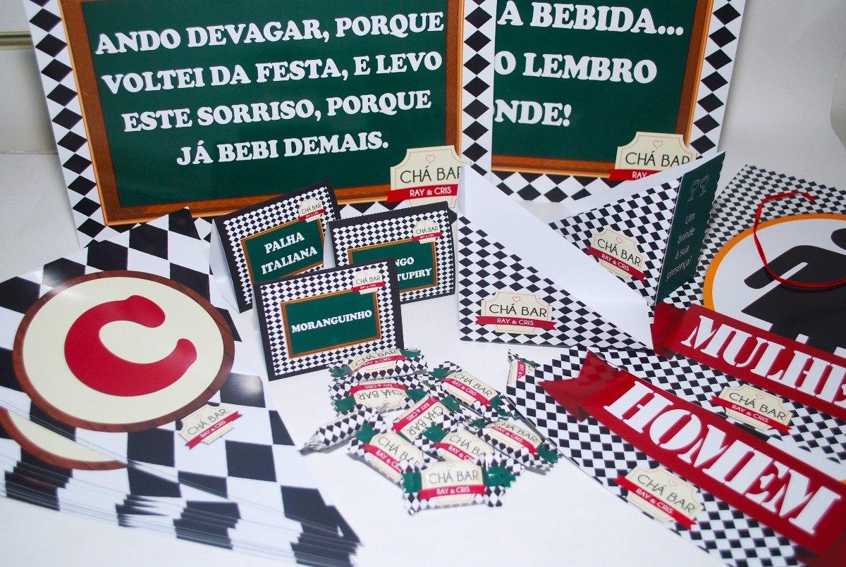 e2ec7a52f6551 Kit Boteco E Chá Bar - Tema Logo Vermelho E Creme - R  150