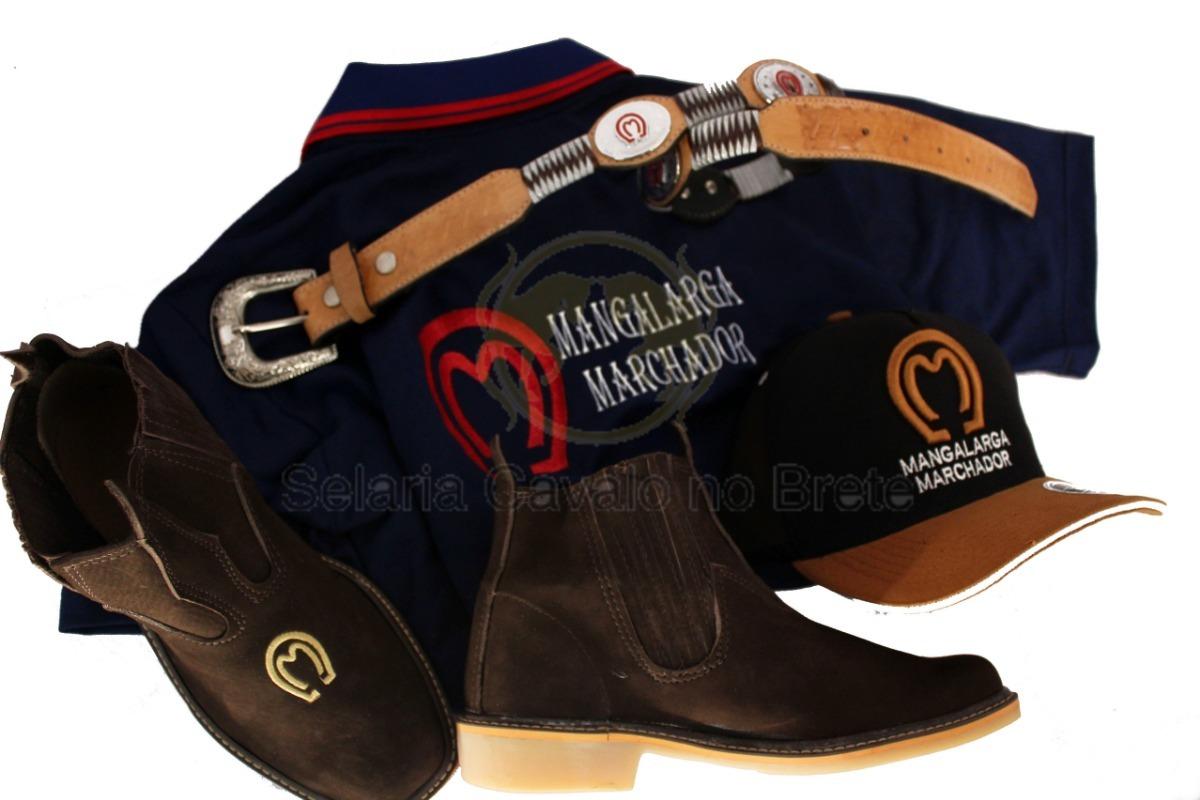 kit botina de couro mangalarga + camisa e cinto mangalarga. Carregando zoom. 63c65675bdd