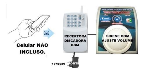 kit botão pânico aciona sirene por s m s via celular montado