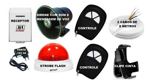kit botão pânico sem fio sirene voicer e strobe + 2 controle