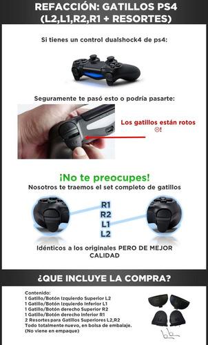 kit botones l2 l1 r2 r1 + 2 resorte control ps4 original