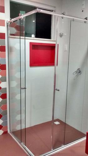 kit box advance canto 1x1 para banheiro roldanas aparentes