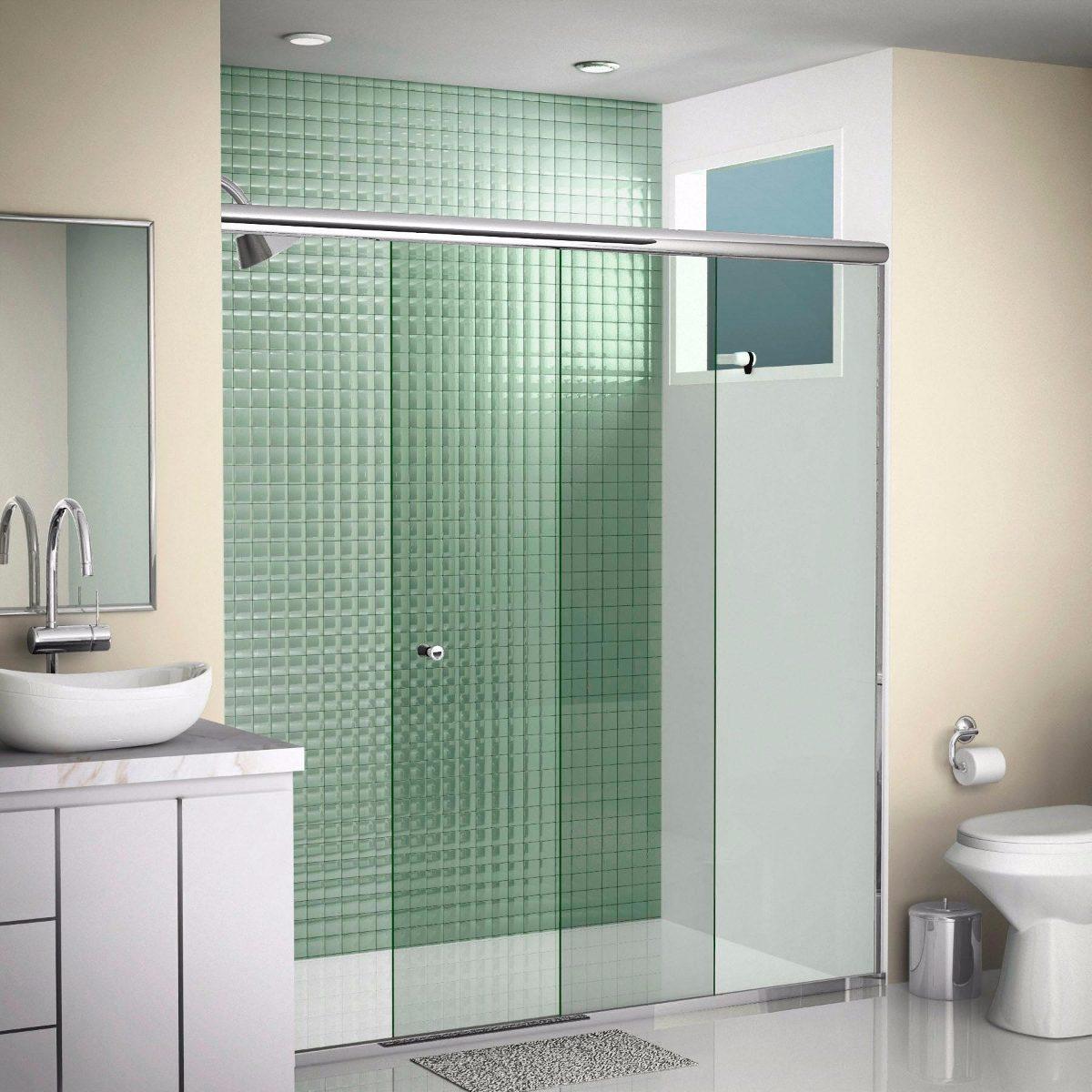 Kit box banheiro alum nio vidro 8mm f1 1 20 mt brilhante for Porta 1 20