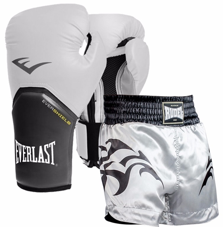 Kit Boxe Branco - Luva Everlast 12oz + Shorts Rudel M - R  164 f861038e04fc6