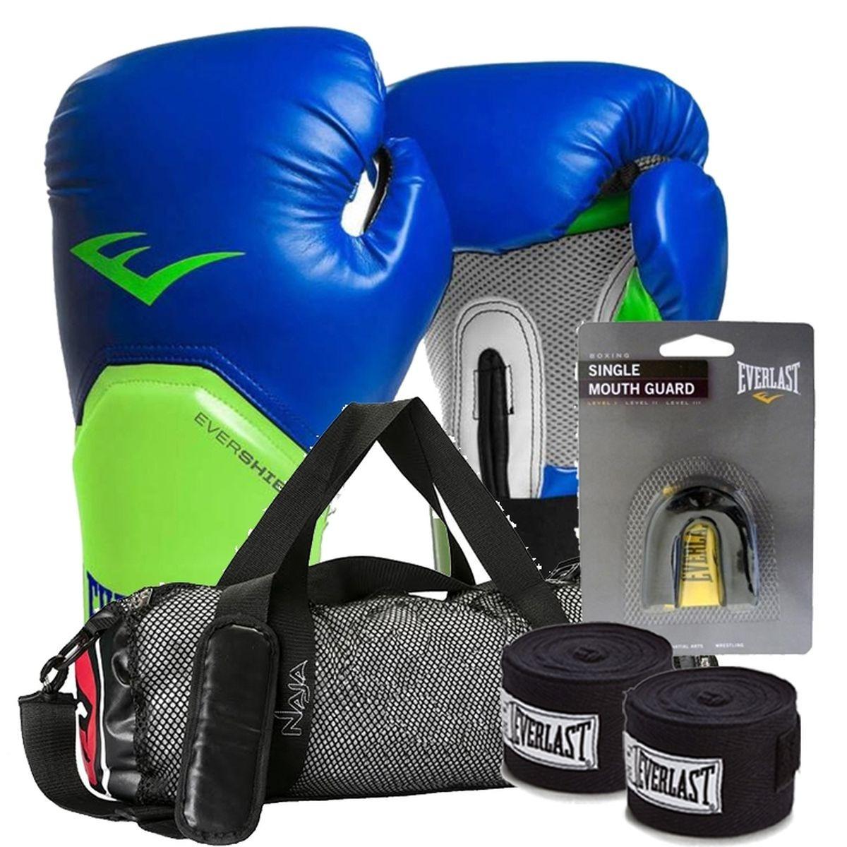 4f096fd4a kit boxe elite everlast + bolsa naja 12oz azul com verde. Carregando zoom.