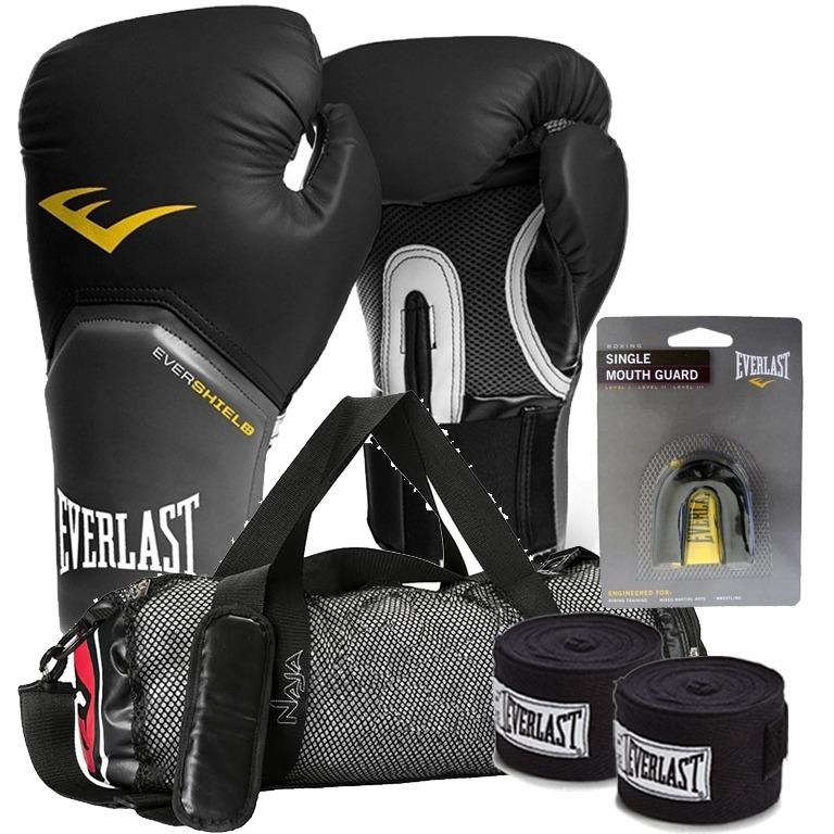 ad887da16 Kit Boxe Elite Everlast + Bolsa Naja 14oz Preto - R  201