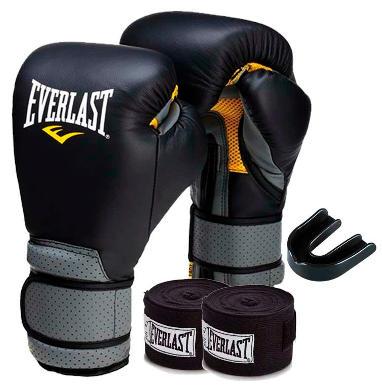 74497451c Kit Boxe Everlast Luva Couro 14oz Preta - R  359