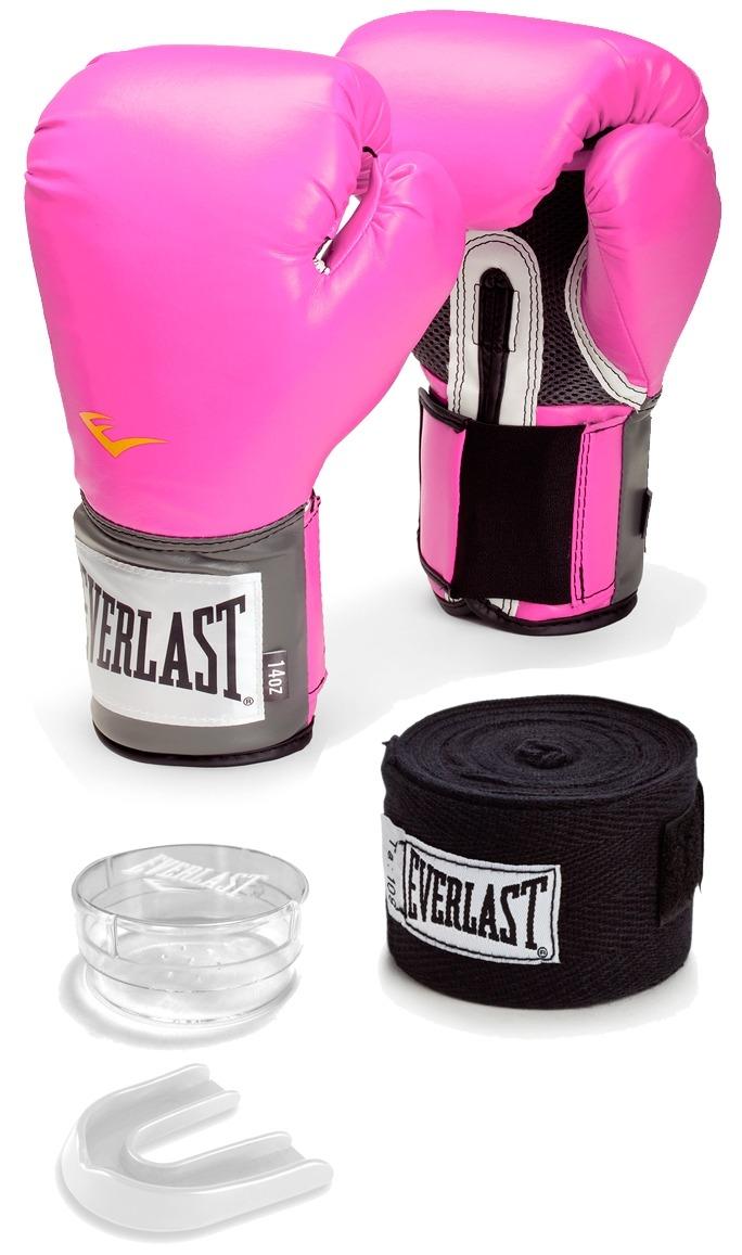 a88f1da70 kit boxe muay thai everlast luva rosa + bandagem + bucal. Carregando zoom.
