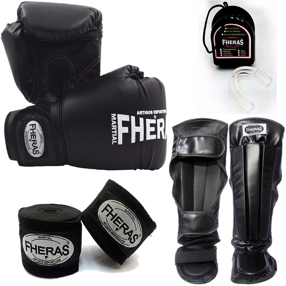 b34023886 kit boxe muay thai fheras luva bandagem bucal caneleira. Carregando zoom.